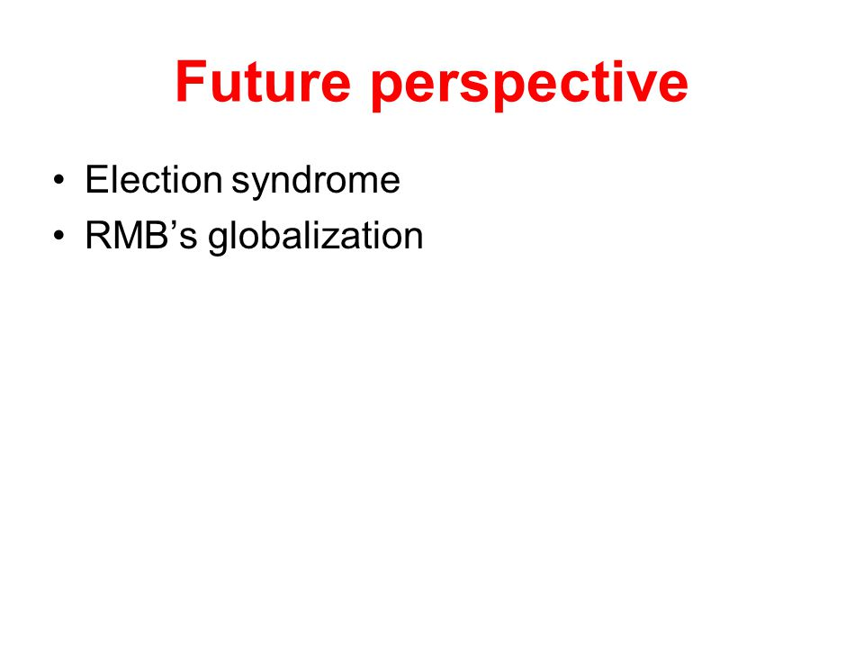 Future perspective Election syndrome RMB's globalization