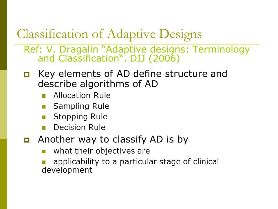 Classification of Adaptive Designs Ref: V.
