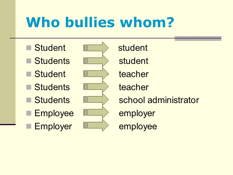 Who bullies whom? Student student Students student Student teacher Students teacher Students school administrator Employee employer Employer employee