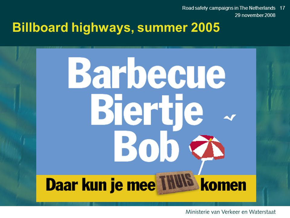 29 november 2008 Road safety campaigns in The Netherlands17 Billboard highways, summer 2005