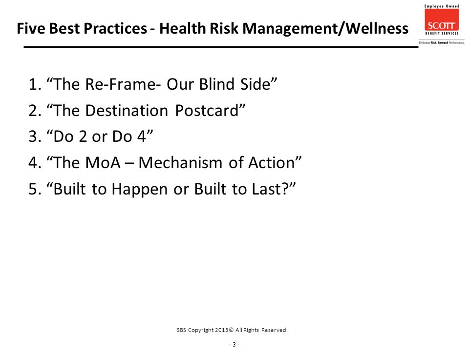 - 3 - Five Best Practices - Health Risk Management/Wellness 1. The Re-Frame- Our Blind Side 2. The Destination Postcard 3. Do 2 or Do 4 4. The MoA – Mechanism of Action 5. Built to Happen or Built to Last SBS Copyright 2013© All Rights Reserved.