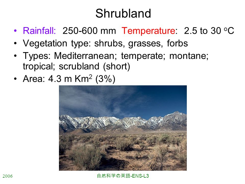2006 自然科学の英語 -ENS-L3 Shrubland Rainfall:250-600 mm Temperature: 2.5 to 30 o C Vegetation type: shrubs, grasses, forbs Types: Mediterranean; temperate; montane; tropical; scrubland (short) Area: 4.3 m Km 2 (3%)