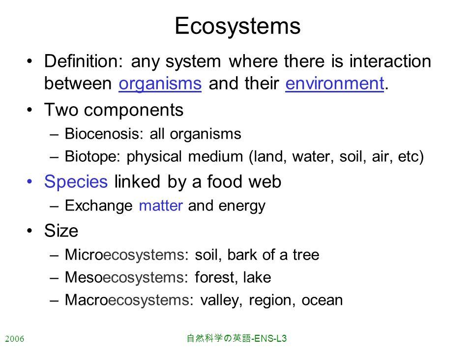2006 自然科学の英語 -ENS-L3 Ecosystems Definition: any system where there is interaction between organisms and their environment.