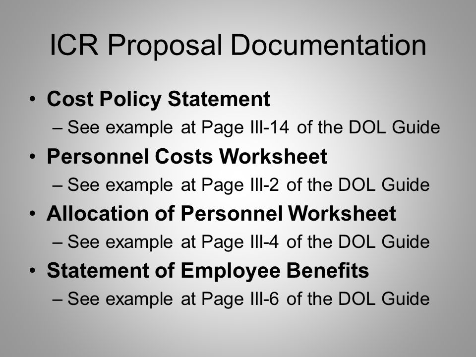 ICR Proposal Documentation Organizational Profile –Chart showing the organizational structure during the applicable proposal period reconciled with th