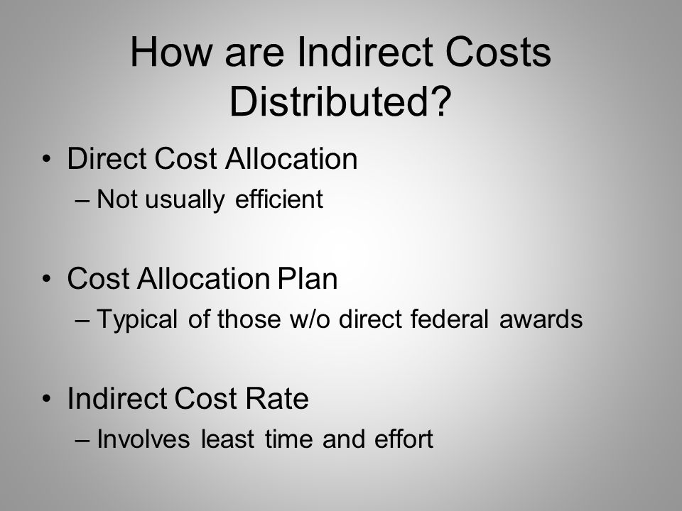 So who has Indirect Costs? All organizations!! –Except those few which have only: One fund source One program One activity