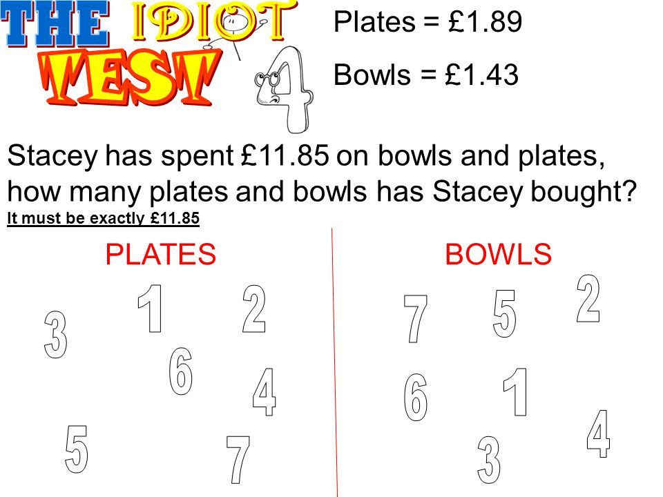 Stacey has spent £11.85 on bowls and plates, how many plates and bowls has Stacey bought.