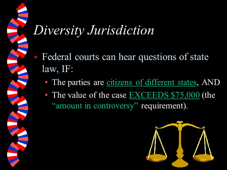 Federal Question Jurisdiction w Case involves: Federal statute or law.