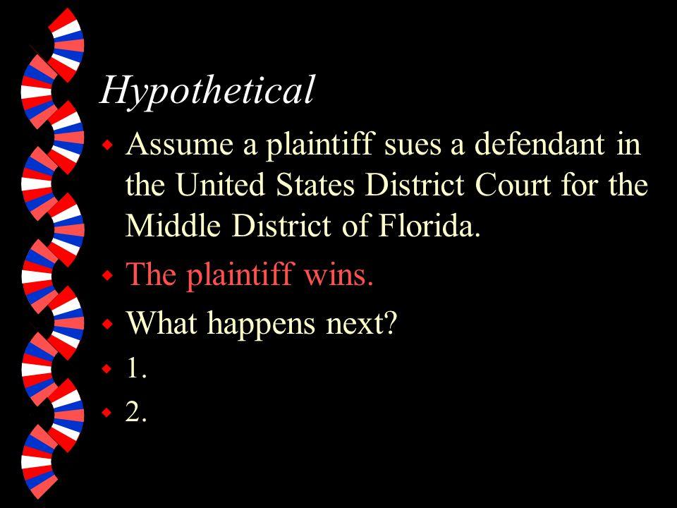 U.S. District Courts w Sample name: United States District Court for the Middle District of Florida. w Parties: Plaintiff (initiates action). Defendan