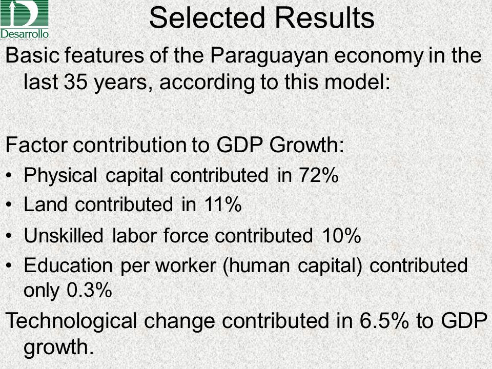 Selected Results Basic features of the Paraguayan economy in the last 35 years, according to this model: Factor contribution to GDP Growth: Physical c