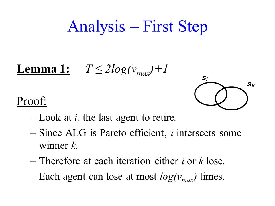 Analysis – First Step Lemma 1: T ≤ 2log(v max )+1 Proof: –Look at i, the last agent to retire.