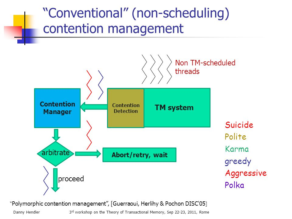 Conventional Contention Management is often problematic  Loser resumes execution after a waiting period  May resume execution too early  May resume execution too late  Repeated collisions occur under high contention  Livelocks  Performance may become worse than single lock Scheduling-based CM to the rescue.
