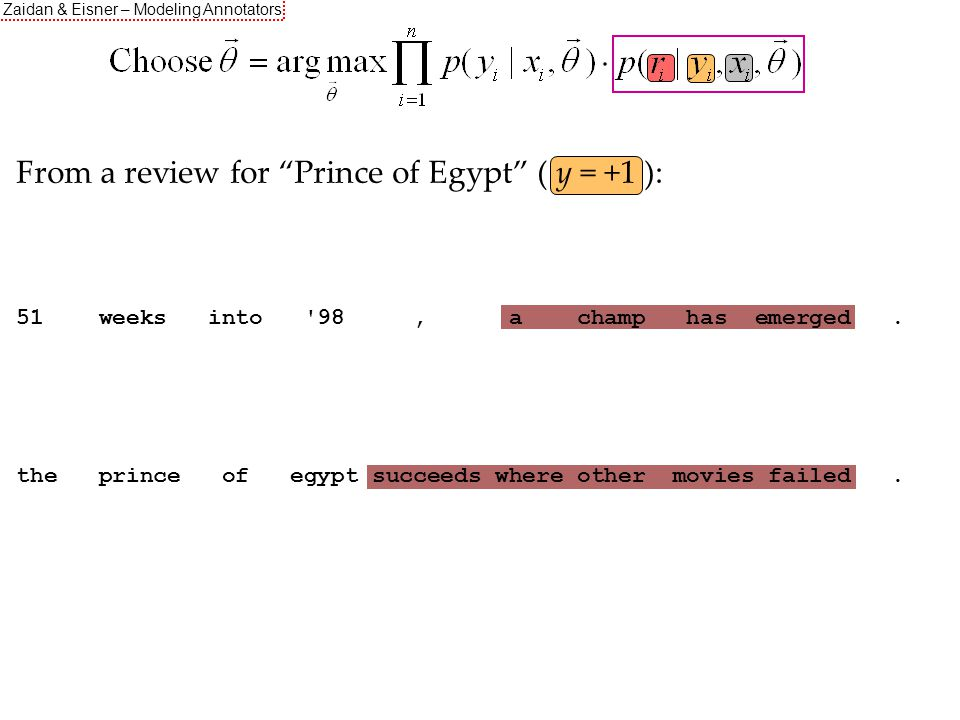 Zaidan & Eisner – Modeling Annotators From a review for Prince of Egypt ( y = +1 ): O O O O O I I I I O 51 weeks into 98, a champ has emerged.