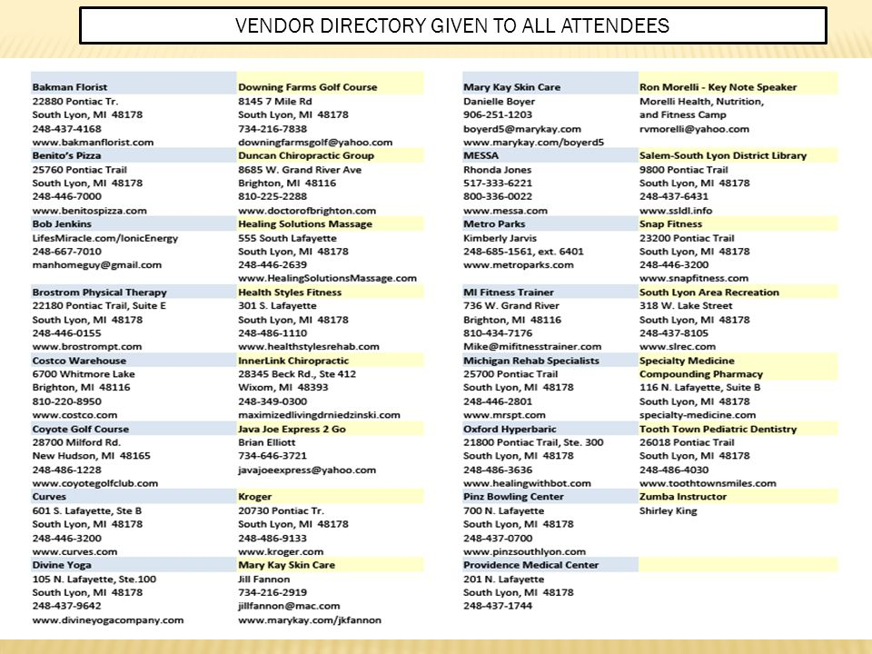 VENDOR DIRECTORY GIVEN TO ALL ATTENDEES