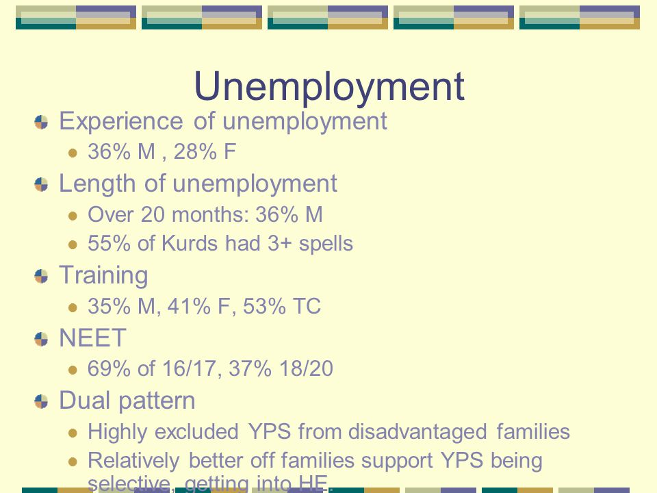 Unemployment Experience of unemployment 36% M, 28% F Length of unemployment Over 20 months: 36% M 55% of Kurds had 3+ spells Training 35% M, 41% F, 53% TC NEET 69% of 16/17, 37% 18/20 Dual pattern Highly excluded YPS from disadvantaged families Relatively better off families support YPS being selective, getting into HE.