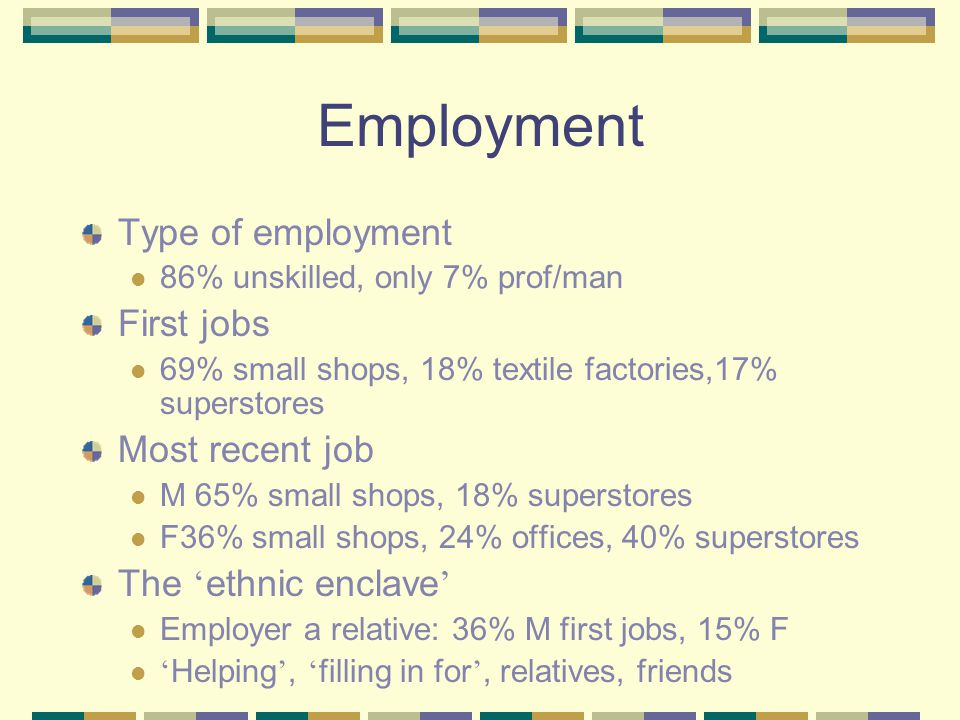 Employment Type of employment 86% unskilled, only 7% prof/man First jobs 69% small shops, 18% textile factories,17% superstores Most recent job M 65%