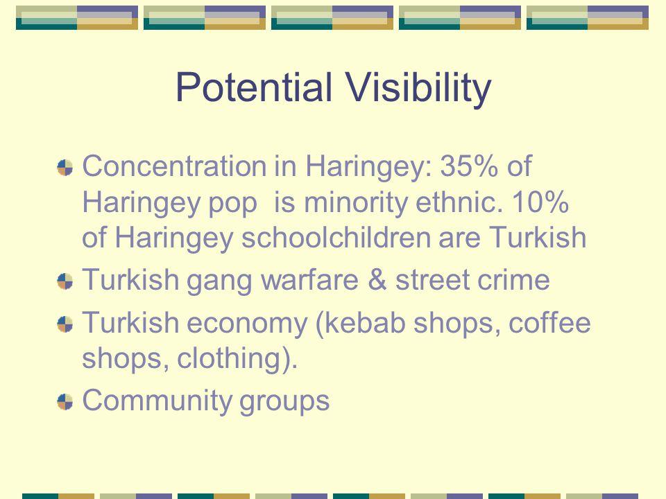 Potential Visibility Concentration in Haringey: 35% of Haringey pop is minority ethnic. 10% of Haringey schoolchildren are Turkish Turkish gang warfar