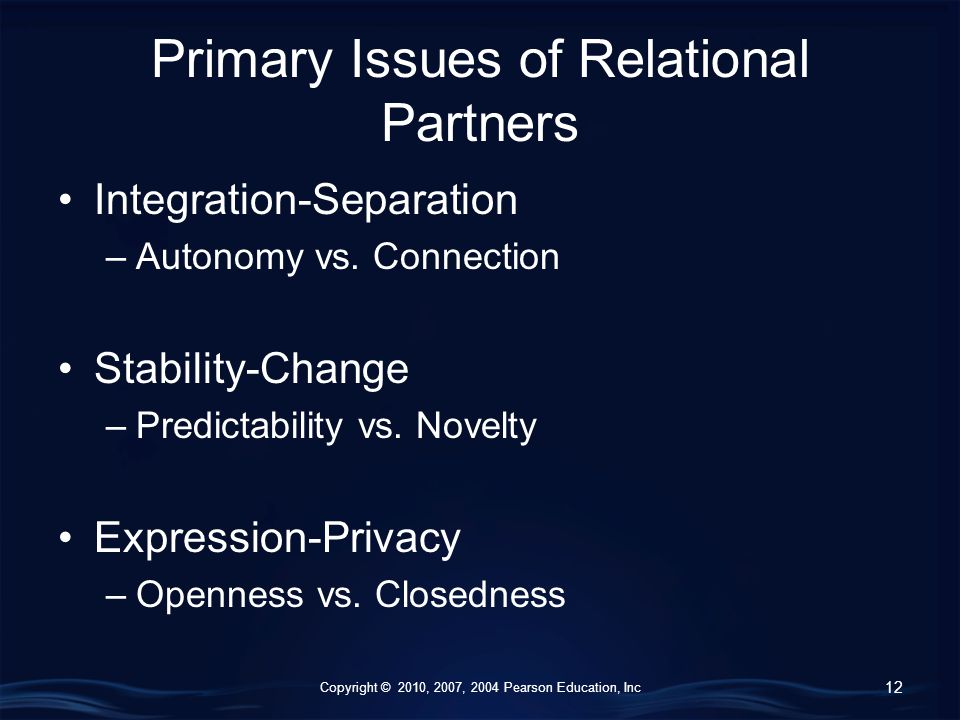 Copyright © 2010, 2007, 2004 Pearson Education, Inc Primary Issues of Relational Partners Integration-Separation –Autonomy vs.