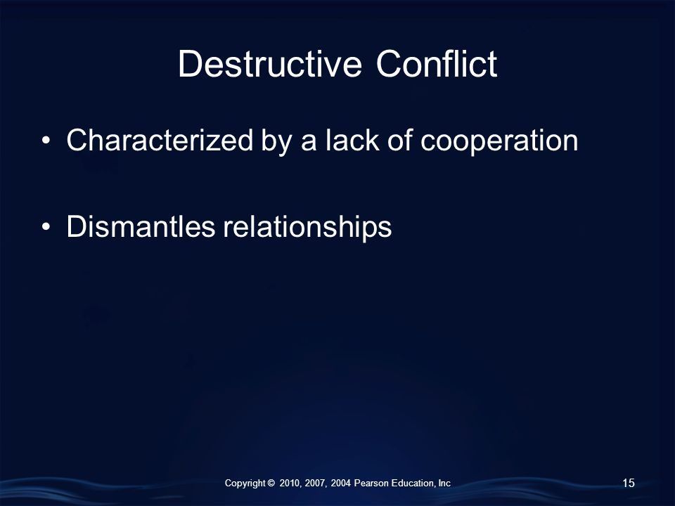 Copyright © 2010, 2007, 2004 Pearson Education, Inc Destructive Conflict Characterized by a lack of cooperation Dismantles relationships 15