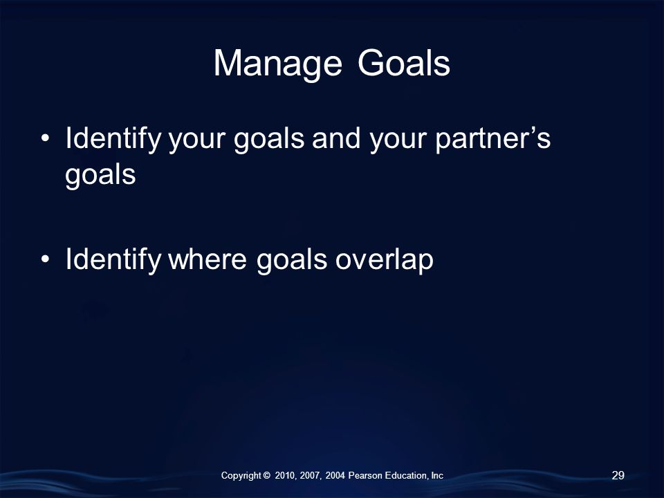 Copyright © 2010, 2007, 2004 Pearson Education, Inc Manage Goals Identify your goals and your partner's goals Identify where goals overlap 29