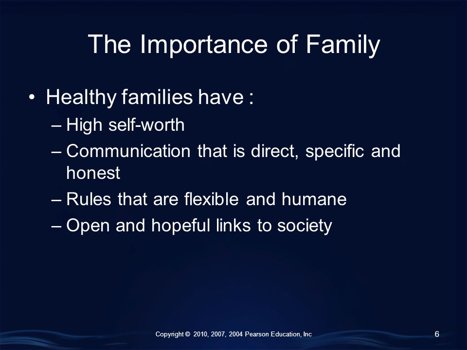 Copyright © 2010, 2007, 2004 Pearson Education, Inc The Importance of Family Healthy families have : –High self-worth –Communication that is direct, specific and honest –Rules that are flexible and humane –Open and hopeful links to society 6