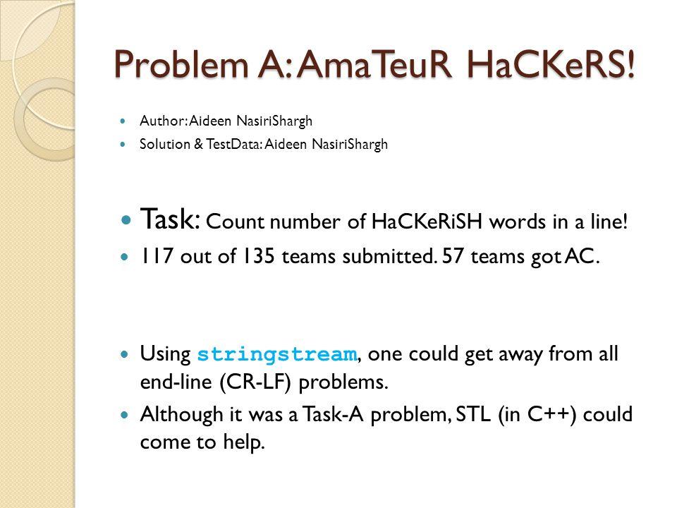 Problem A: AmaTeuR HaCKeRS.