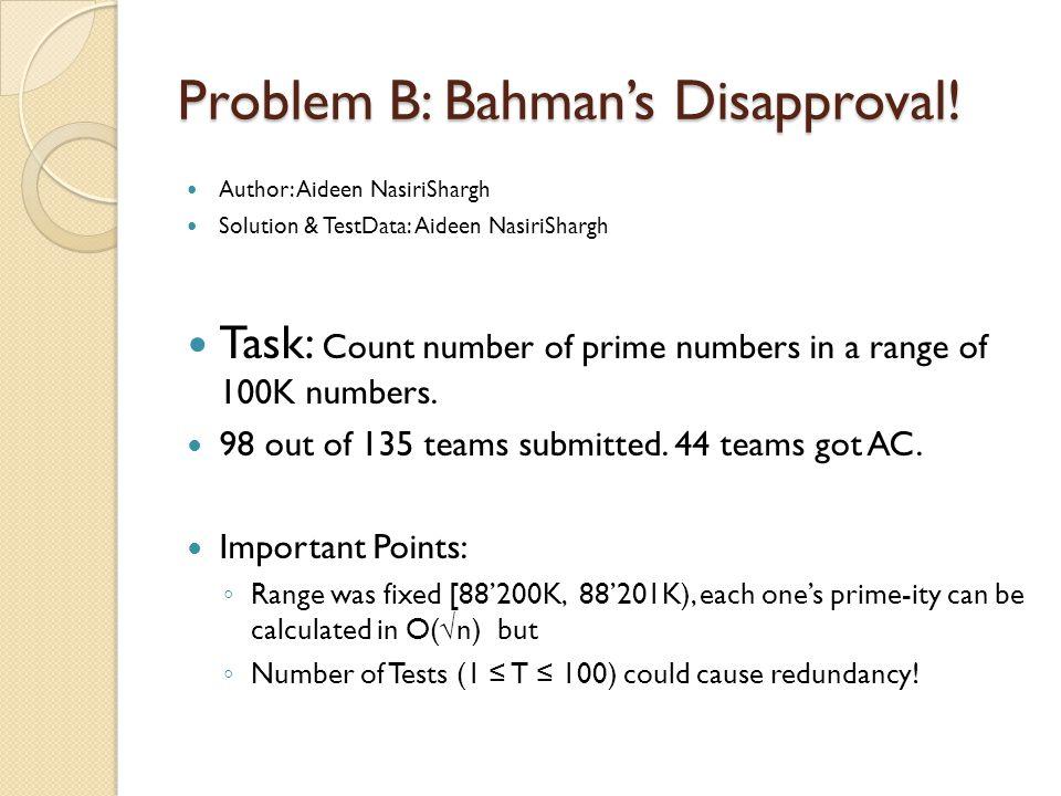 Problem B: Bahman's Disapproval.