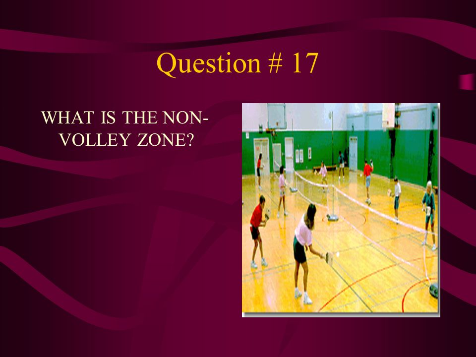 Question # 17 WHAT IS THE NON- VOLLEY ZONE?