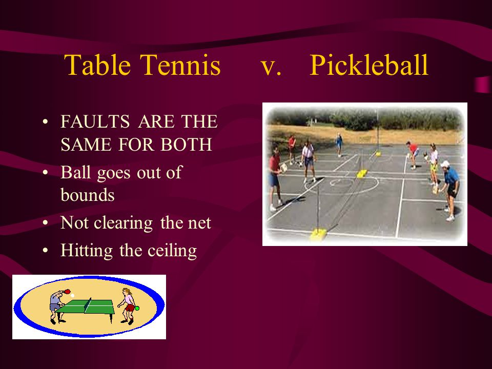 Table Tennisv.Pickleball FAULTS ARE THE SAME FOR BOTH Ball goes out of bounds Not clearing the net Hitting the ceiling