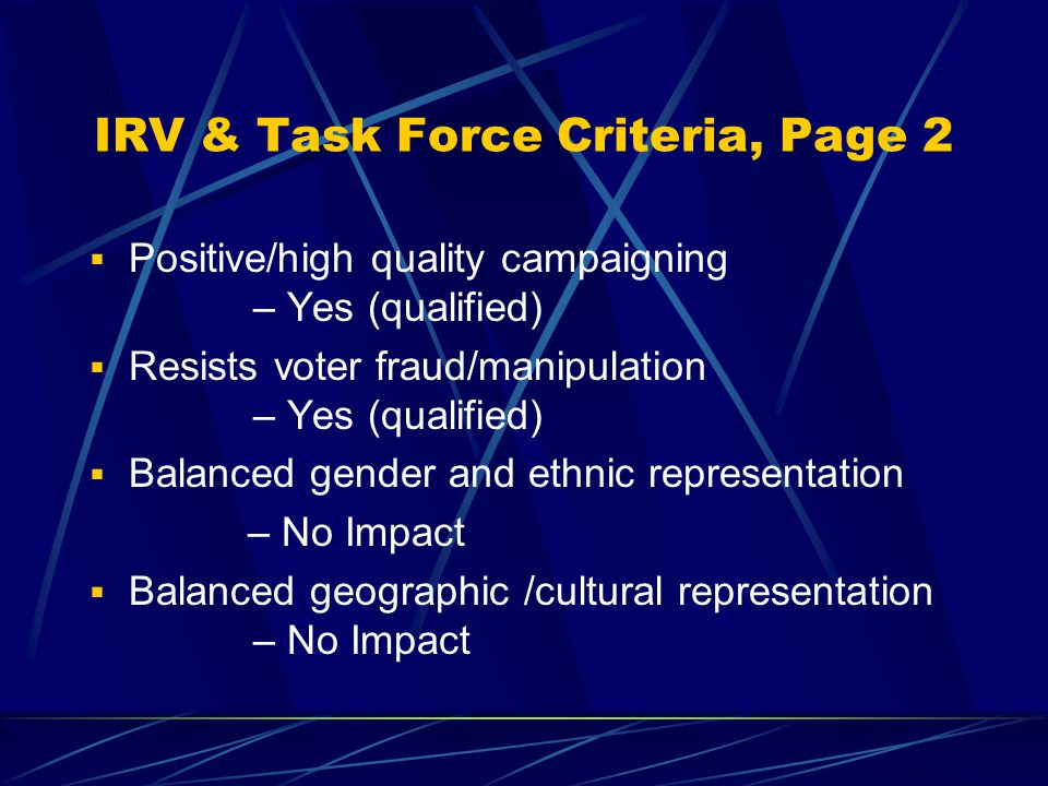IRV & Task Force Criteria, Page 1  Provides voters with real choices / addresses spoiler effect / minimizes wasted votes? – Yes (qualified)  Is simp