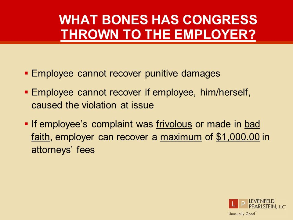 WHAT BONES HAS CONGRESS THROWN TO THE EMPLOYER.