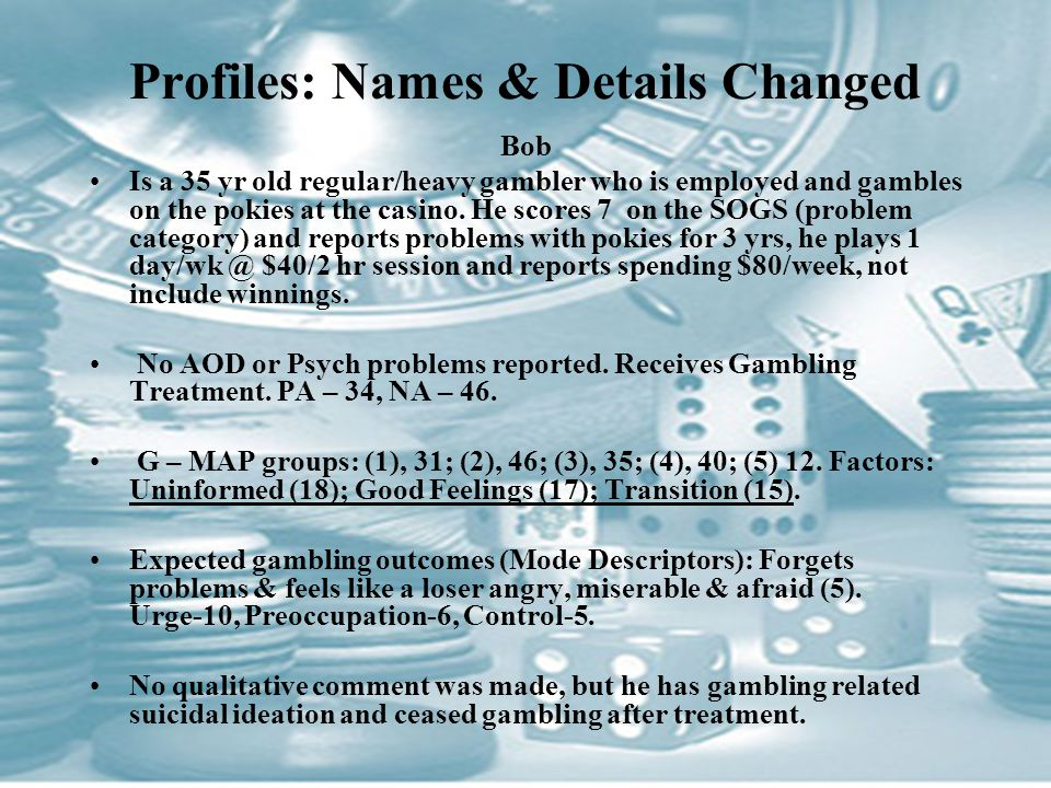 Profiles: Names & Details Changed Bob Is a 35 yr old regular/heavy gambler who is employed and gambles on the pokies at the casino.
