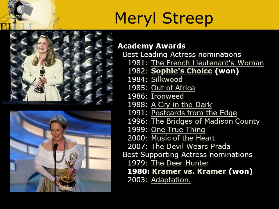 Meryl Streep Academy Awards Best Leading Actress nominations 1981: The French Lieutenant s WomanThe French Lieutenant s Woman 1982: Sophie s Choice (won)Sophie s Choice 1984: SilkwoodSilkwood 1985: Out of AfricaOut of Africa 1986: IronweedIronweed 1988: A Cry in the DarkA Cry in the Dark 1991: Postcards from the EdgePostcards from the Edge 1996: The Bridges of Madison CountyThe Bridges of Madison County 1999: One True ThingOne True Thing 2000: Music of the HeartMusic of the Heart 2007: The Devil Wears PradaThe Devil Wears Prada Best Supporting Actress nominations 1979: The Deer HunterThe Deer Hunter 1980: Kramer vs.
