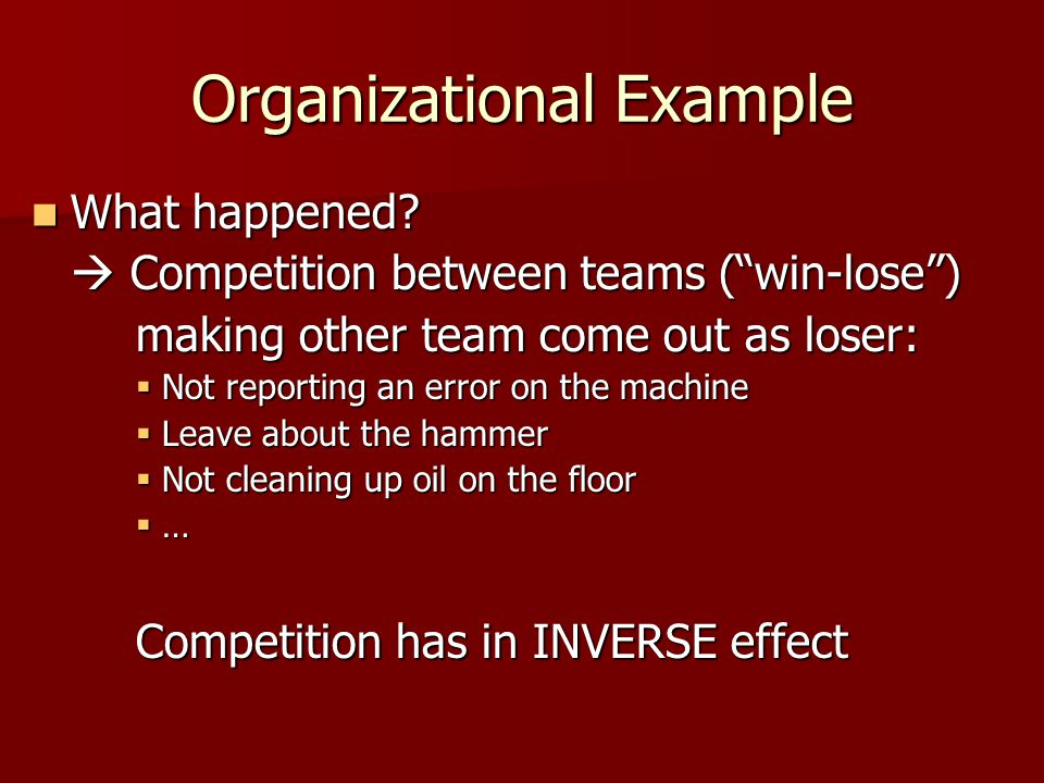 Organizational Example What happened. What happened.