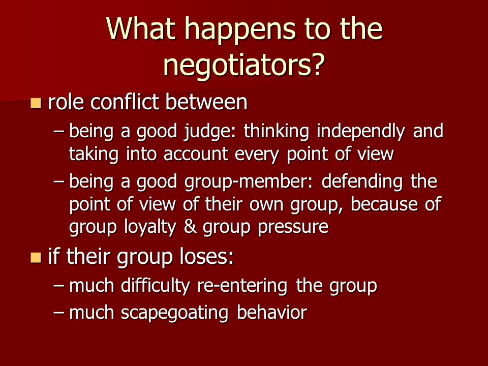 What happens to the negotiators.
