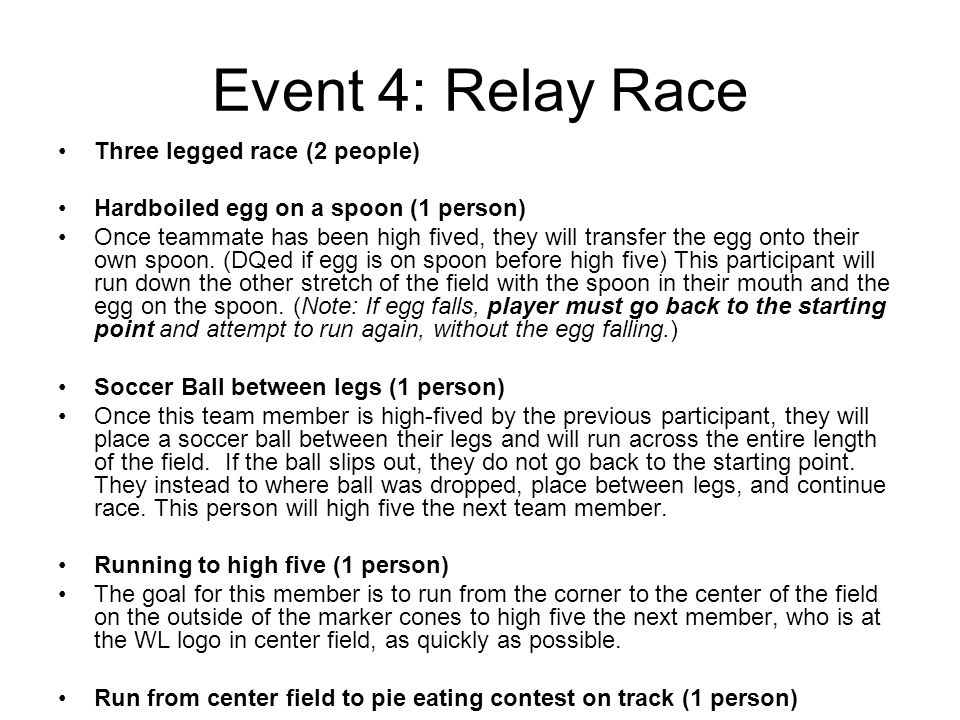 Event 4: Relay Race Three legged race (2 people) Hardboiled egg on a spoon (1 person) Once teammate has been high fived, they will transfer the egg onto their own spoon.