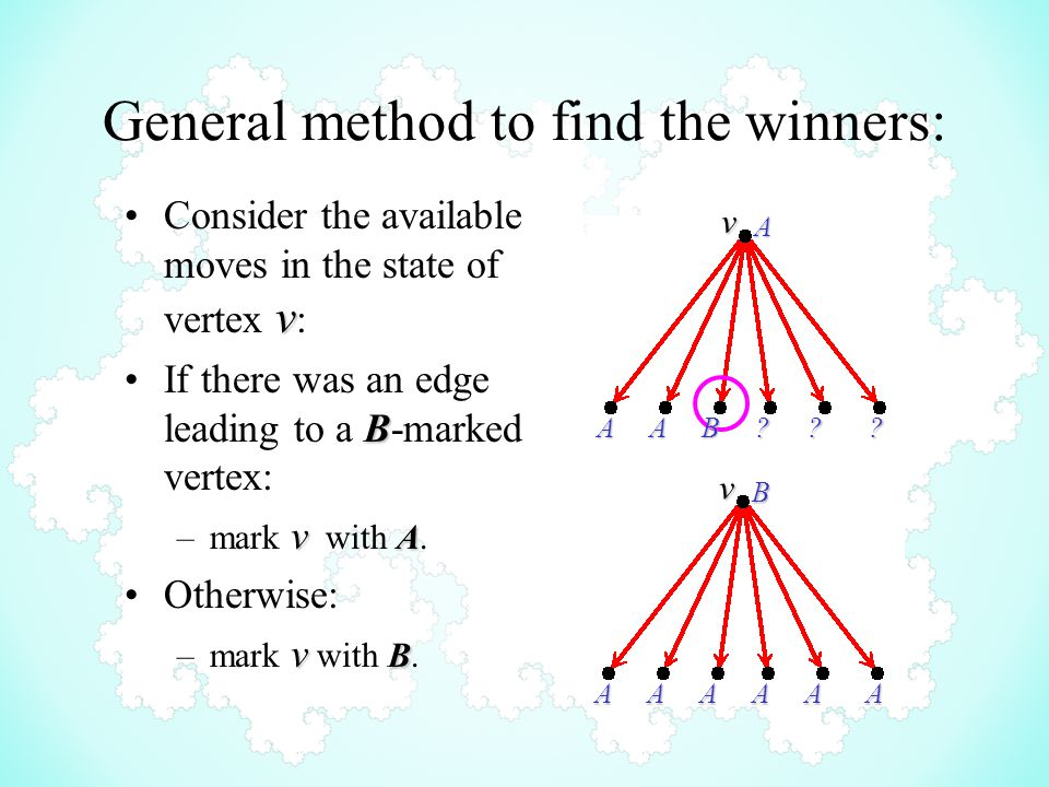 General method to find the winners: vConsider the available moves in the state of vertex v : BIf there was an edge leading to a B-marked vertex: v A –mark v with A.