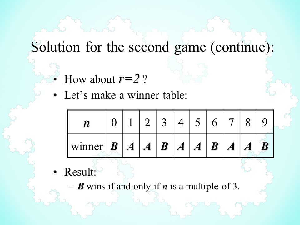 Solution for the second game (continue): r=2How about r=2 .