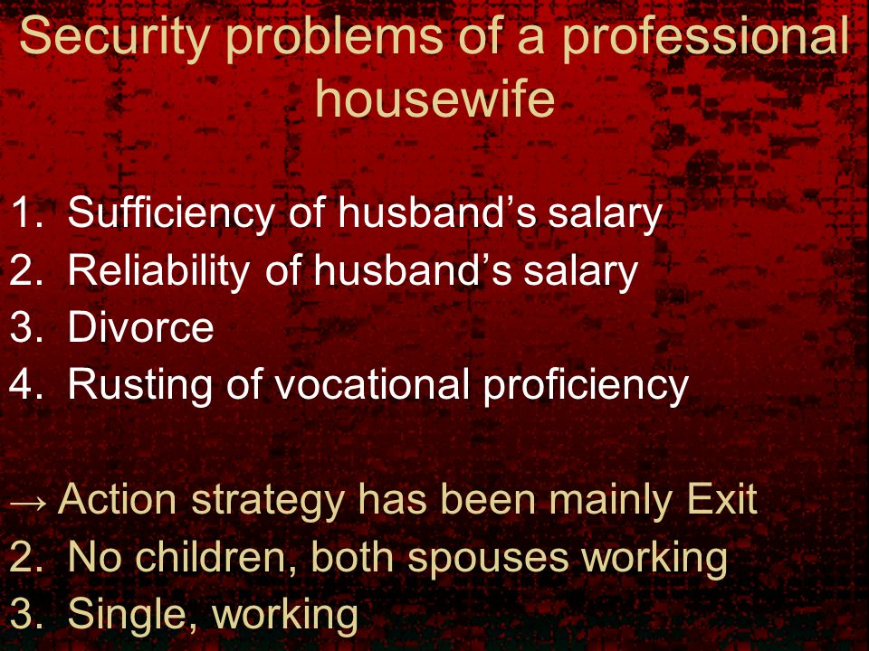 Security problems of a professional housewife 1.Sufficiency of husband's salary 2.Reliability of husband's salary 3.Divorce 4.Rusting of vocational proficiency → Action strategy has been mainly Exit 2.No children, both spouses working 3.Single, working