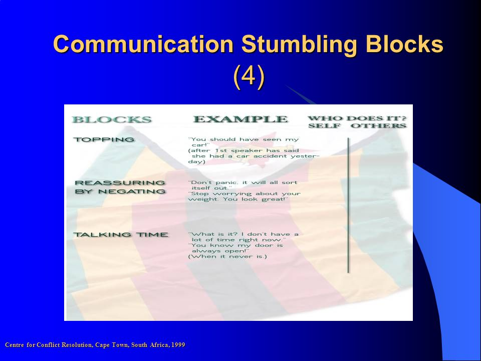 Communication Stumbling Blocks (4) Centre for Conflict Resolution, Cape Town, South Africa, 1999