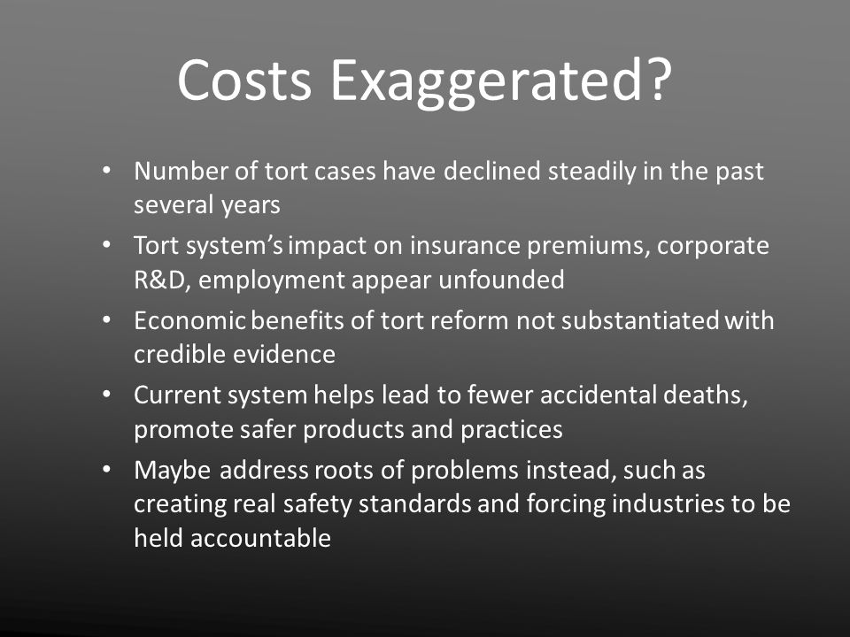 Costs Exaggerated.