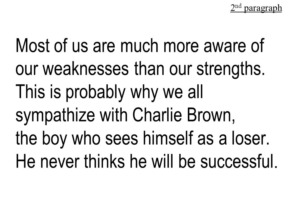 Most of us are much more aware of our weaknesses than our strengths.