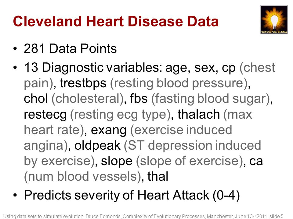 Cleveland Heart Disease Data 281 Data Points 13 Diagnostic variables: age, sex, cp (chest pain), trestbps (resting blood pressure), chol (cholesteral)