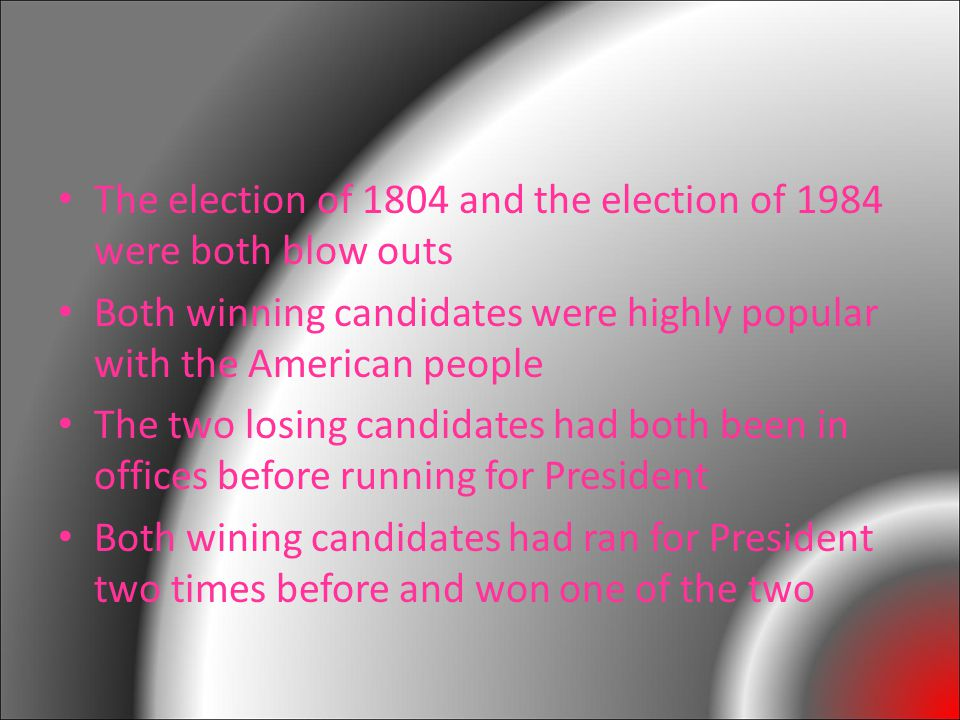 The election of 1804 and the election of 1984 were both blow outs Both winning candidates were highly popular with the American people The two losing candidates had both been in offices before running for President Both wining candidates had ran for President two times before and won one of the two
