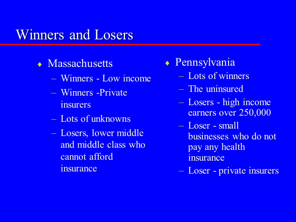 Winners and Losers  Massachusetts –Winners - Low income –Winners -Private insurers –Lots of unknowns –Losers, lower middle and middle class who canno