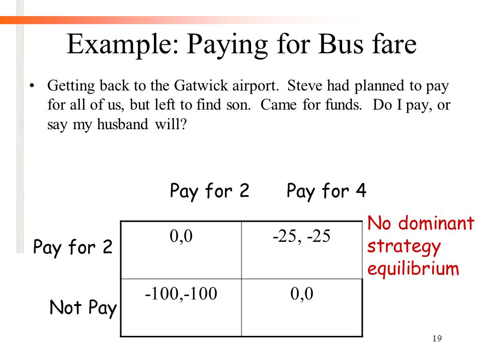 19 Example: Paying for Bus fare Getting back to the Gatwick airport.
