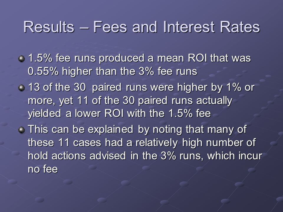 Results – Fees and Interest Rates 1.5% fee runs produced a mean ROI that was 0.55% higher than the 3% fee runs 13 of the 30 paired runs were higher by 1% or more, yet 11 of the 30 paired runs actually yielded a lower ROI with the 1.5% fee This can be explained by noting that many of these 11 cases had a relatively high number of hold actions advised in the 3% runs, which incur no fee