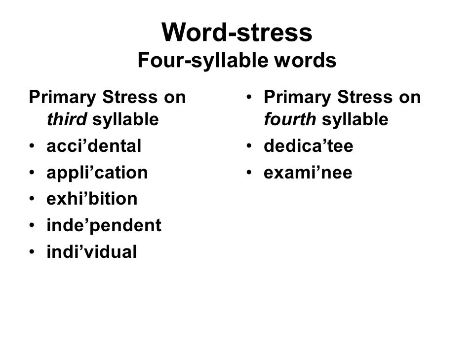 Word-stress Four-syllable words Primary Stress on third syllable acci'dental appli'cation exhi'bition inde'pendent indi'vidual Primary Stress on fourth syllable dedica'tee exami'nee