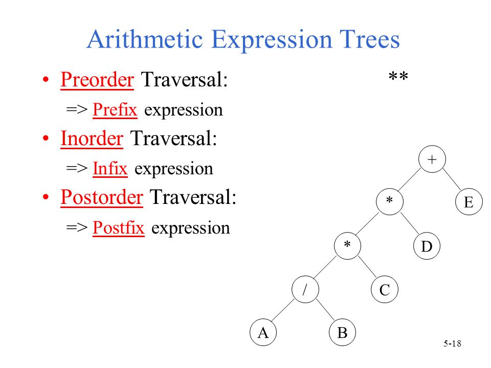 Arithmetic Expression Trees Preorder Traversal: ** => Prefix expression Inorder Traversal: => Infix expression Postorder Traversal: => Postfix expression + *E *D /C AB 5-18