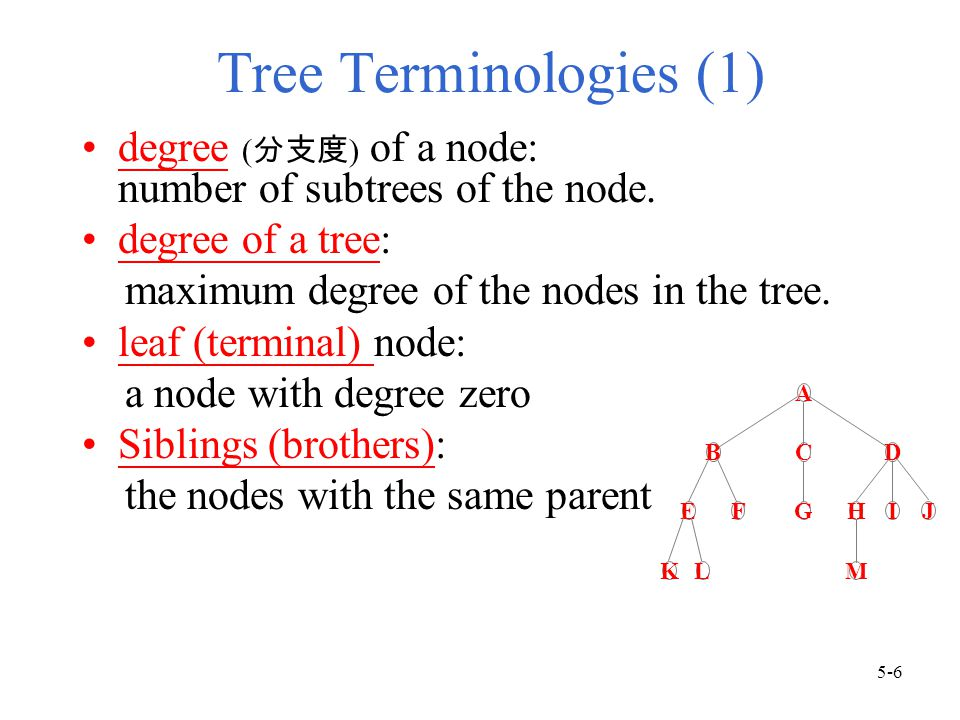 Tree Terminologies (1) degree ( 分支度 ) of a node: number of subtrees of the node.