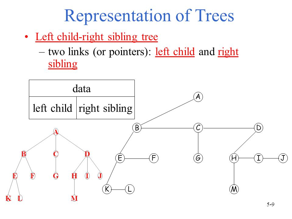 Representation of Trees Left child-right sibling tree –two links (or pointers): left child and right sibling data left childright sibling A BCD EFGHIJ KLM A BCD EFGHIJ KLM 5-9